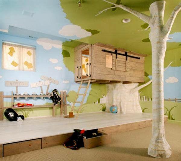 ungewöhnliche kinderzimmer ideen baumhaus malereien