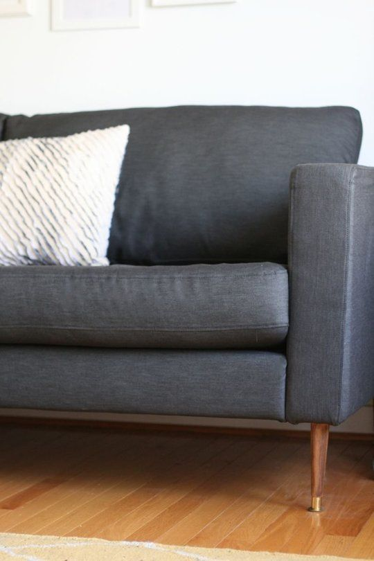 Make It Yours: 5 Ways to Customize Your IKEA Sofa | Apartment Therapy. IKEA Karlstad sofa with custom legs.