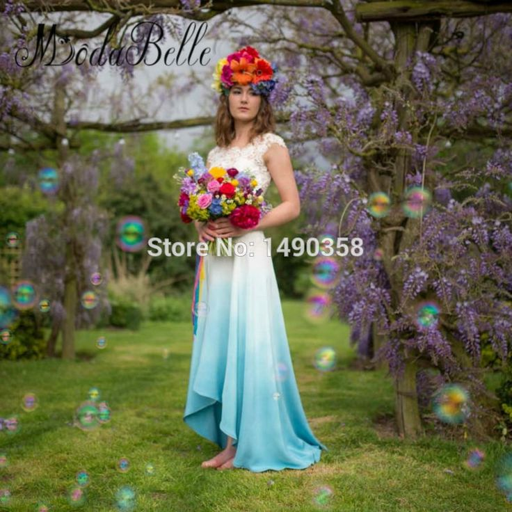 New 2017 Blue And White Asymmetrical Wedding Dresses Hippie Boho Beach Ombre Chiffon Cheap Bridal Dress Colorful Bohem Gelinlik-in Wedding Dresses from Weddings & Events on Aliexpress.com   Alibaba Group