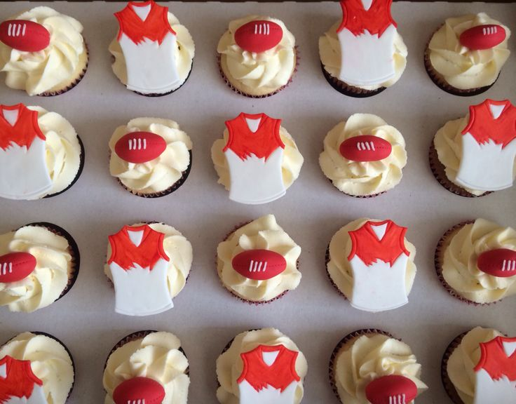 Sydney swans cupcakes. https://m.facebook.com/pages/Cake-Art-by-Bec/253457001361590?_rdr
