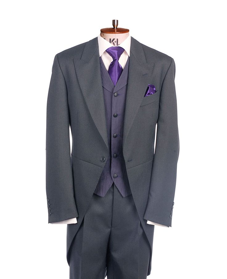 Suit hire direct - Grey Herringbone Tailcoat also available in black, grey pick on pick, mid grey and navy. Any Tailcoat, matching trousers, waistcoat, shirt, any neckwear and handkerchief £95.
