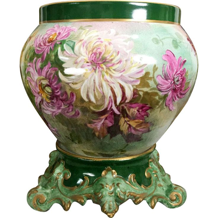 Large Limoges Jardiniere/cache-pot with hand painted colorful Chrysanthemums on separate base, artist signed, 1892-1907