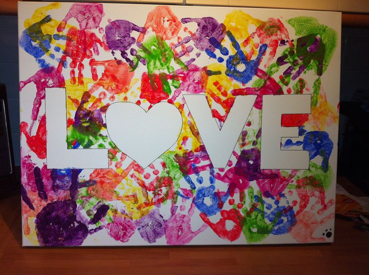 Handprint canvas for the hallway use masking tape to write the word and paint Great for art auction...