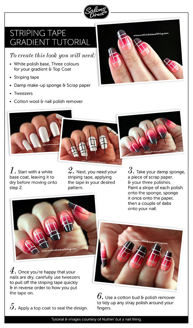 26 best nail art tutorials images on pinterest blog tutorials a nail art tutorial on creating gradient nail art with striping tape prinsesfo Images