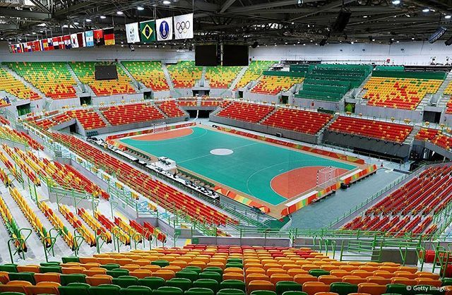 This is Future Arena where the men's and women's handball tournaments will take place. After the Games it will be converted into four schools. #roadtorio  photo: Getty Images