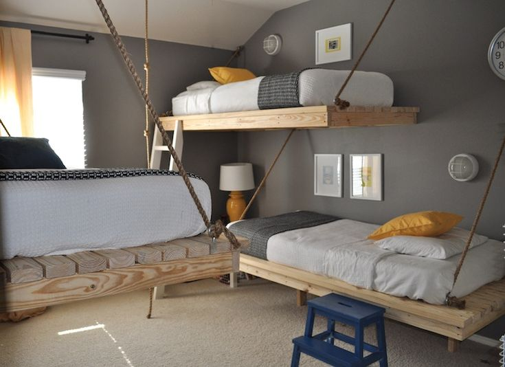 Cute boys' bedroom design with tin hanging platform beds, charcoal gray walls paint color, yellow lamps & pillows, yellow curtains and blue step ladder.: Idea, 3 Boys, Hanging Beds, Boys Bedrooms, Bunk Beds, Boys Rooms, Bunk Rooms, Loft Beds, Kids Rooms