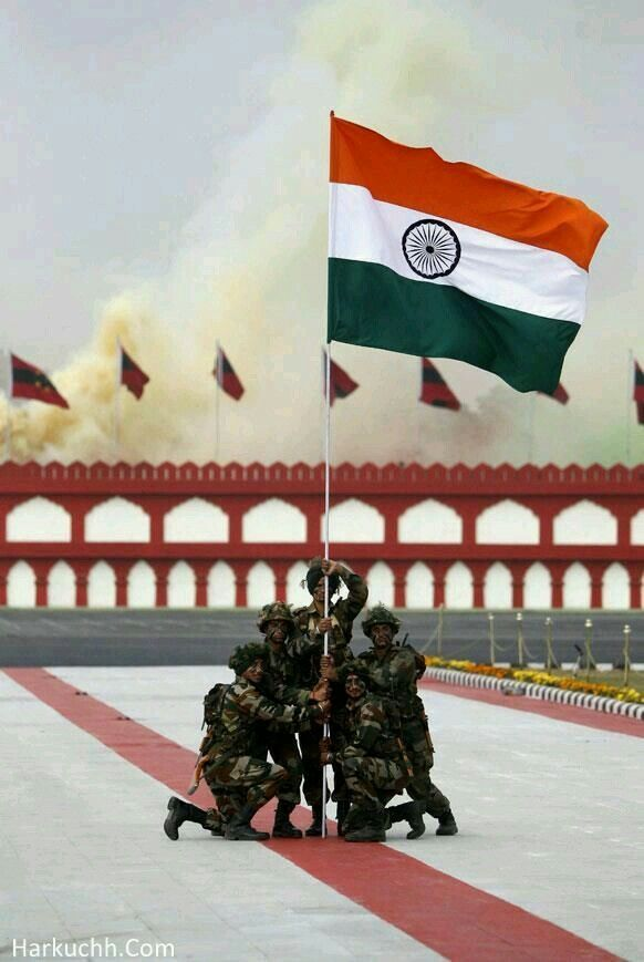 Soldiers holding TriColor  Tiranga
