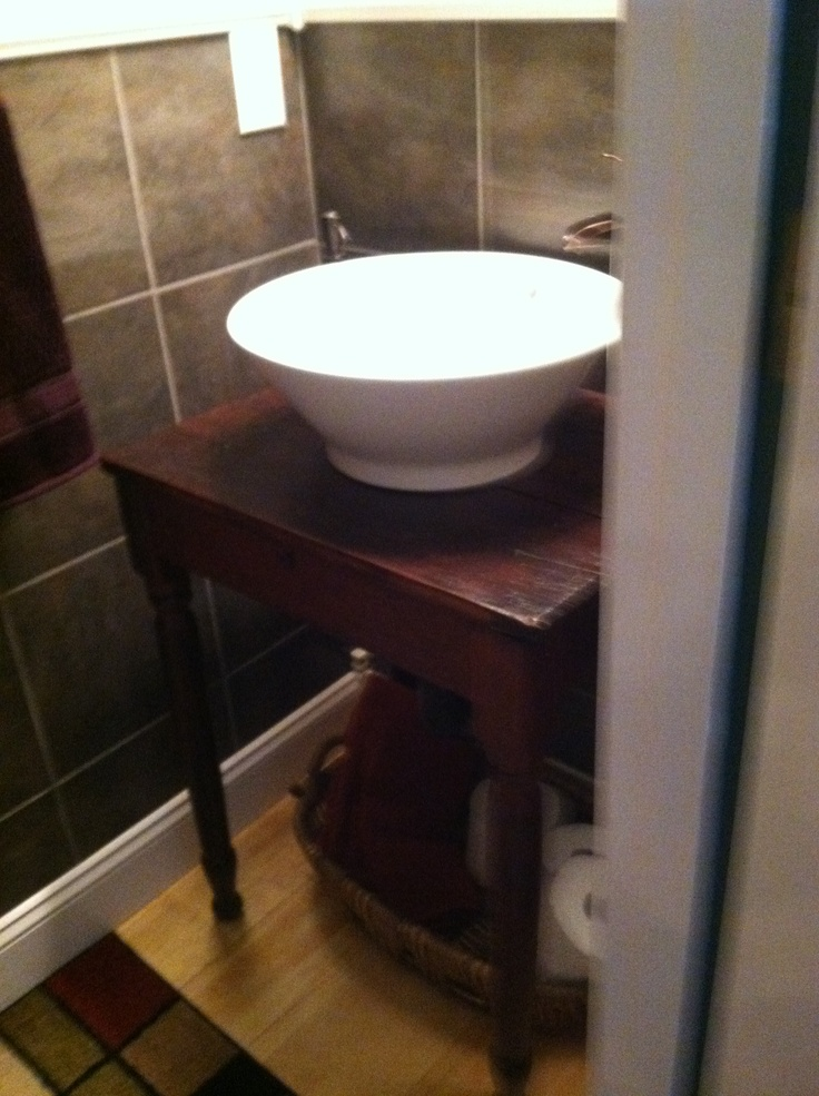 Old Table Converted To Stand For Vessel Sink Basket