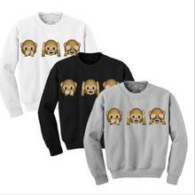 1Pcs Monkey Patterns Women Sweatshirt Autumn Hoodies Long Sleeve O-Neck 3D emoji printed Women Clothing Fleece Hoodie Size M-XL(China (Mainland))