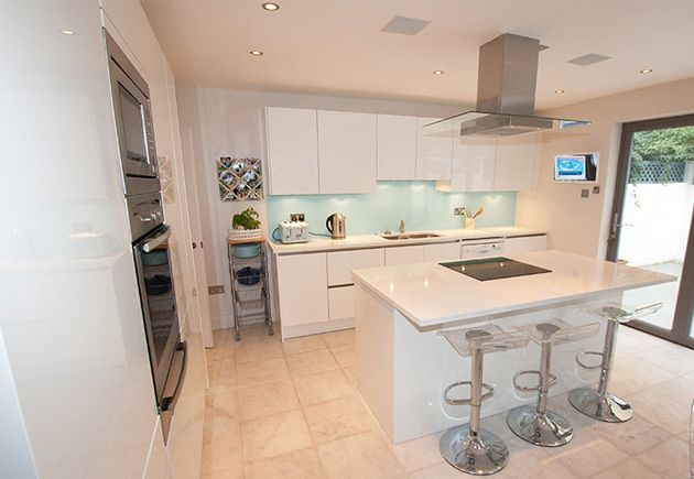 white handless kitchen with duck egg island - Google Search
