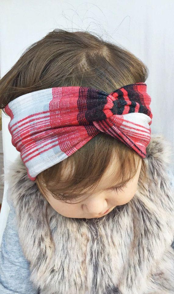 Plaid turban headband by turbansfortots on Etsy