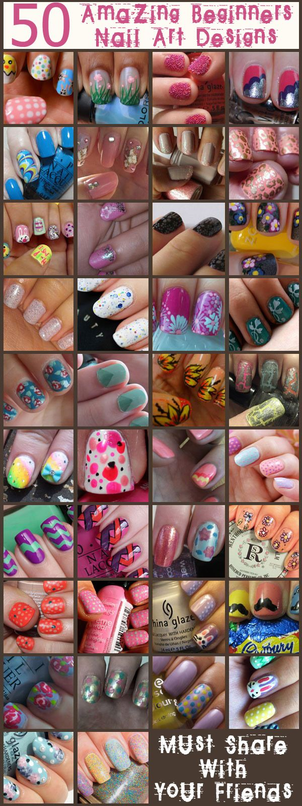 Nail Art Designs For Beginners: Go easy on yourself and start with these nail art designs for beginners. So all set to get started? Please visit our website @ http://rainbowloomsale.com