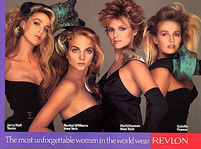 I loved these Revlon ads in the 80's - Jerry Hall, Rachel Williams, Patti Hansen, Estelle Hallyday