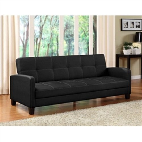 Black Faux Leather Sofa Bed Sleeper - Great for Apartments  | eBay
