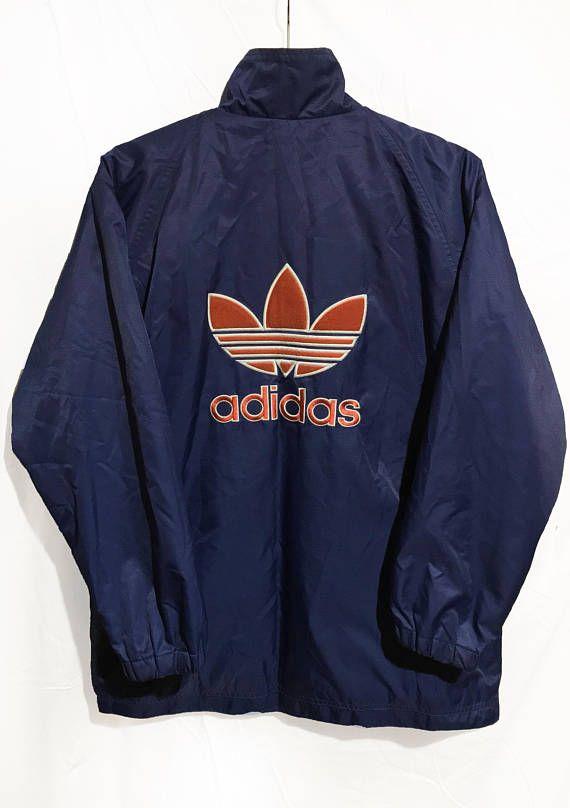 0fba764511863 Vintage 80s Adidas Trefoil Quilted Jacket Navy Blue/Orange Size S ...