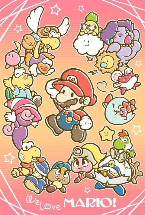 I like the cutesy artstyle of this Paper Mario inspired image and feel it is perfect for my own work as not only do the characters look great but the colours do also.