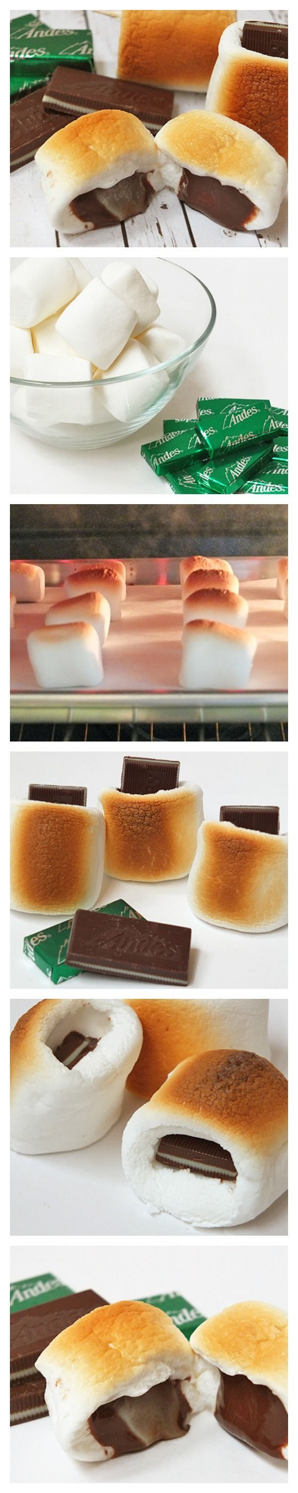 Toasted marshmallows with a minty, melty chocolate center!