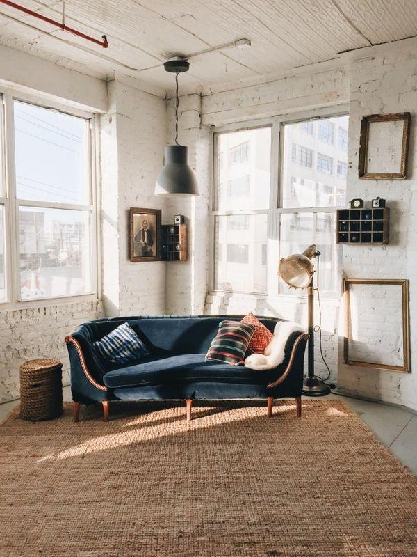 Industrial Vintage Furniture   Warehouse Conversion   Pendant Light   Blue Sofa   Big Windows   Design Inspiration   Loft Living   Warehouse Home Design Magazine