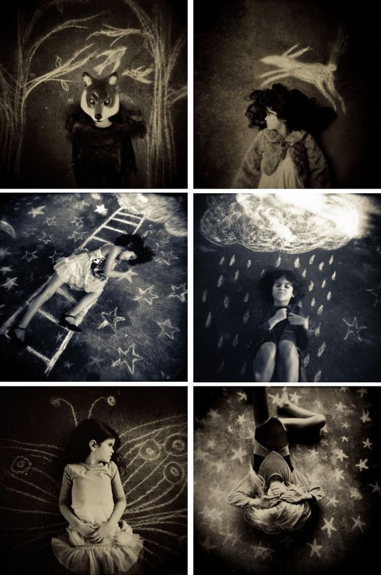 "Laura Burlton ""Chalk Dreams"" chalkboard photo idea children photography fantasy stars black and white"