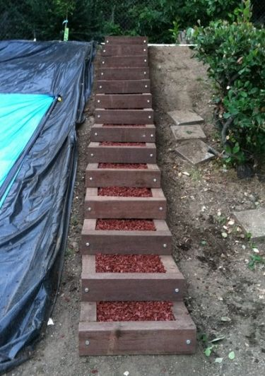 how to build wooden steps on a hill 2
