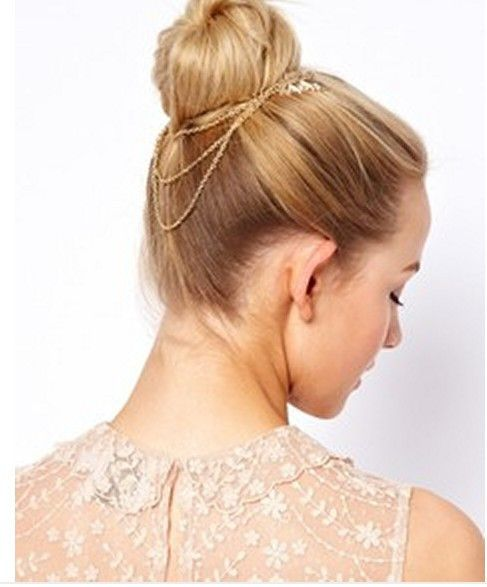 Handmade Boho Gold  Leaf Hair Chain Hair Comb Wedding Prom Graduation Party French Bun Head Chain Jewelry