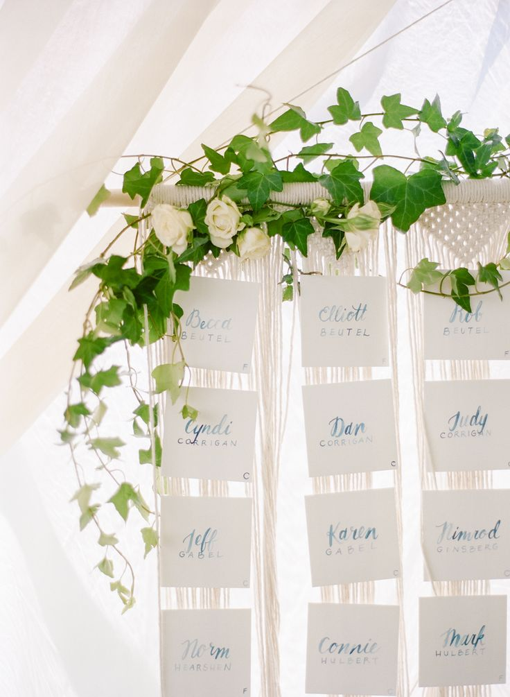 Boho greenery wedding escort display sign: Michigan Summertime Wedding on the Lake