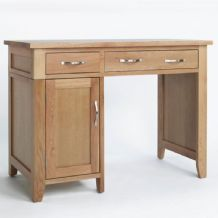 Sherwood Oak Single Pedestal Desk with Cupboard and 2 Drawers