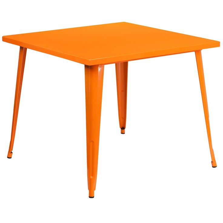iHome Collins Square 35.5'' Orange Metal Table for Indoor/Outdoor/Patio/Bar/Restaurant, Patio Furniture