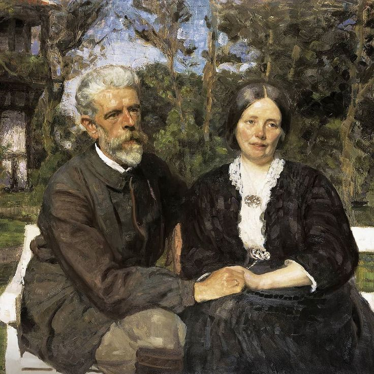 Painter and co-founder of Skagens Museum Laurits Tuxen was born #onthisday in 1853. During his career hetravelled widely painting portraits for Europe's royal families while his motifs in Skagen mostly were landscapes as well aspaintings of his family friends and garden.Portrait of Tuxen and his 2nd wife Frederikke in the garden of their house in Skagen. Painted by Julius Paulsen 1907 #tuxen #juliuspaulsen