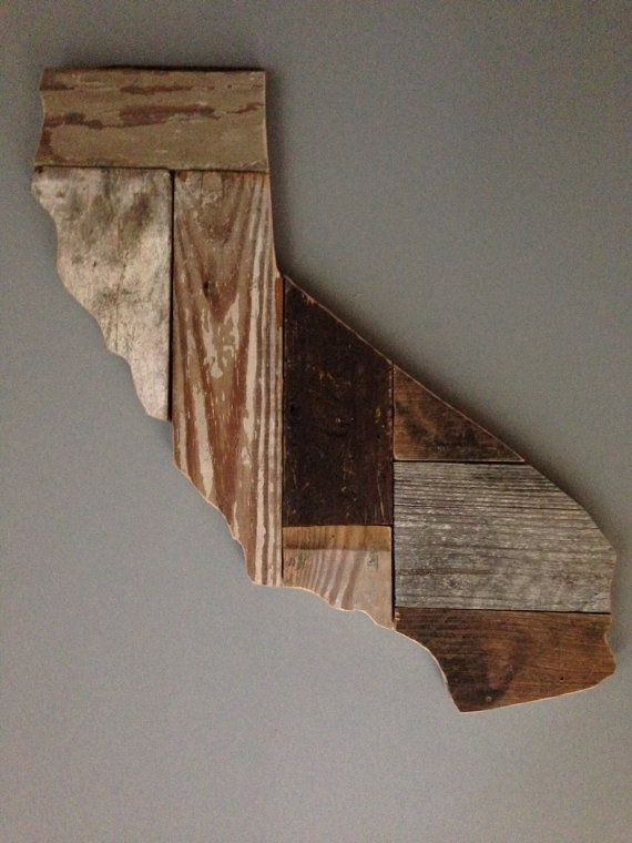 Customizable Wooden State Sign - Hand Painted on Reclaimed Wood - Country Chic Decor - California