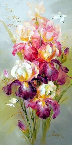 Stunning painting of irises.....I'm not really a fan of floral decor in the home but this one is really pretty!