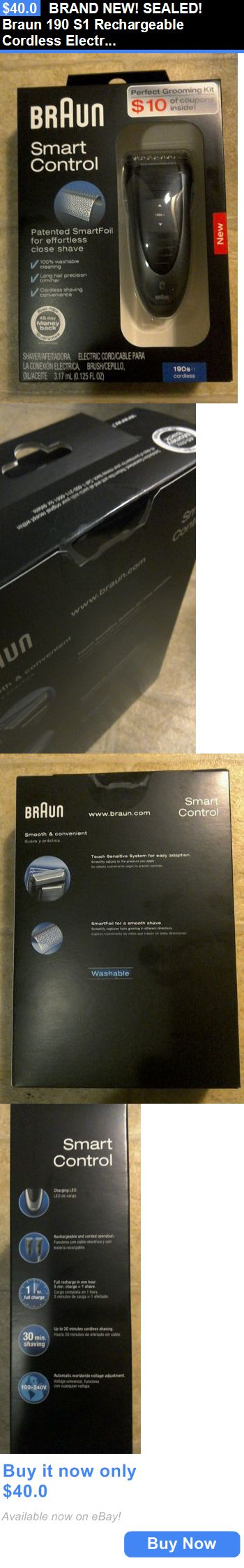 Shaving: Brand New! Sealed! Braun 190 S1 Rechargeable Cordless Electric Shaver And Trimmer! BUY IT NOW ONLY: $40.0