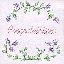 PinBroidery Stitching Cards Flower Border Congratulations Square