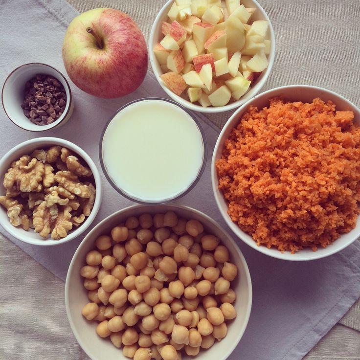 Porridge pois chiche, carottes & pommes aux noix
