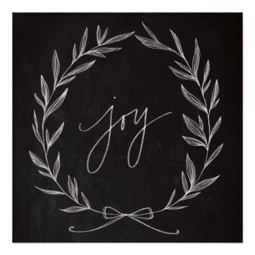 Chalkboard Art – Joy Wreath Poster   Zazzle.com