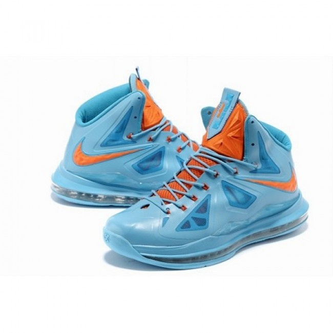 Fashion Nike Air Max LeBron James 10 X Men Laser Blue/Orange Basketball  Shoes 1008