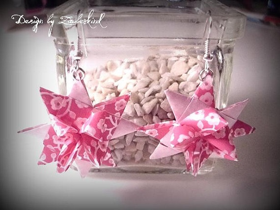 Fröbelstern Ohrringe in  Pink von Zauberkind auf Etsy