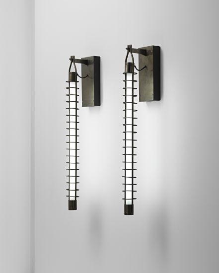 Franco Albini, Pair of wall lights, designed for the National Institute of Assurance Office Building, Parma