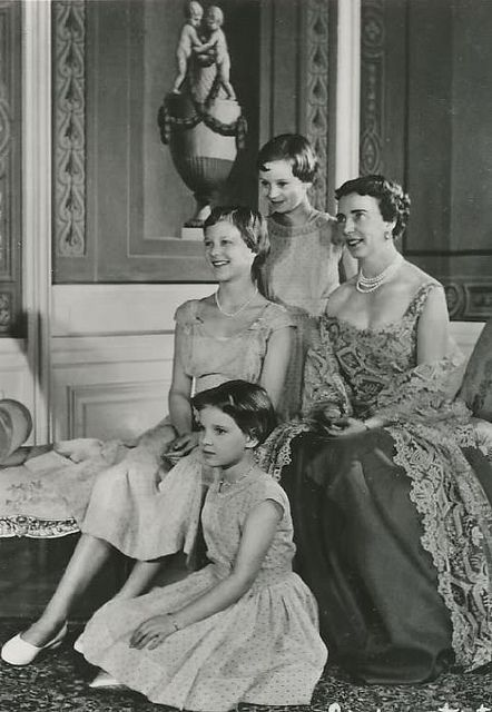 HM Queen Ingrid of Denmark with her  daughters the Crown Princess Margarethe, Princess Benedikte and Princess Anne-Marie