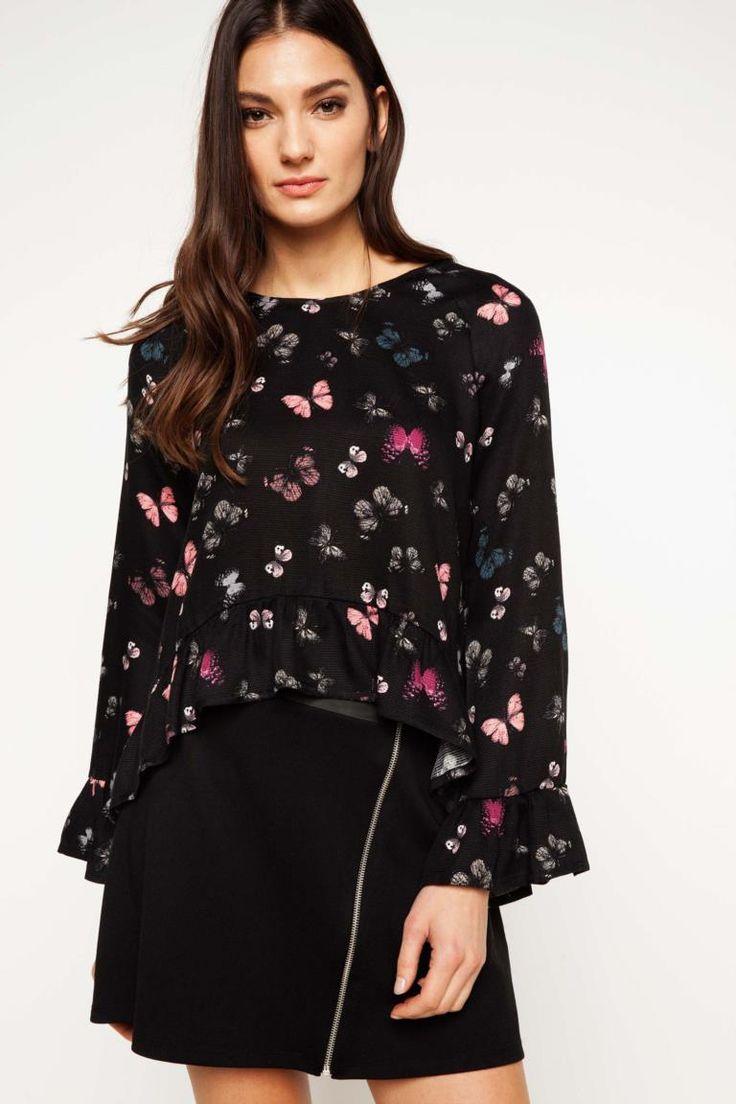 DeFacto Siyah Kadın Fırfır Detaylı Desenli Bluz 1