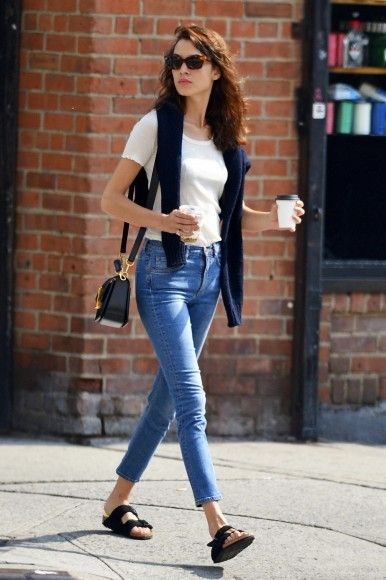 Alexa Chung has her own fun, effortless, relaxed, denim style.