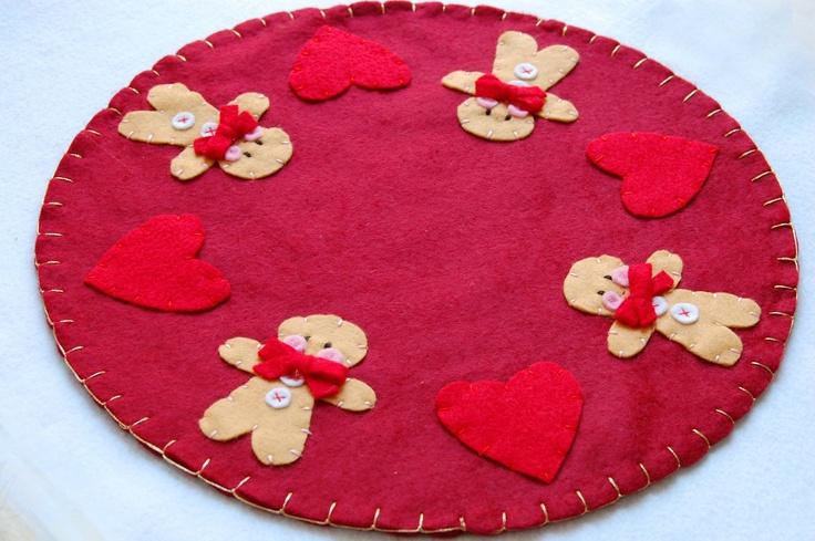 on sale,  gingerbread round table/ runner, red, christmas, soft felt, handmade in italy. €25.00, via Etsy.