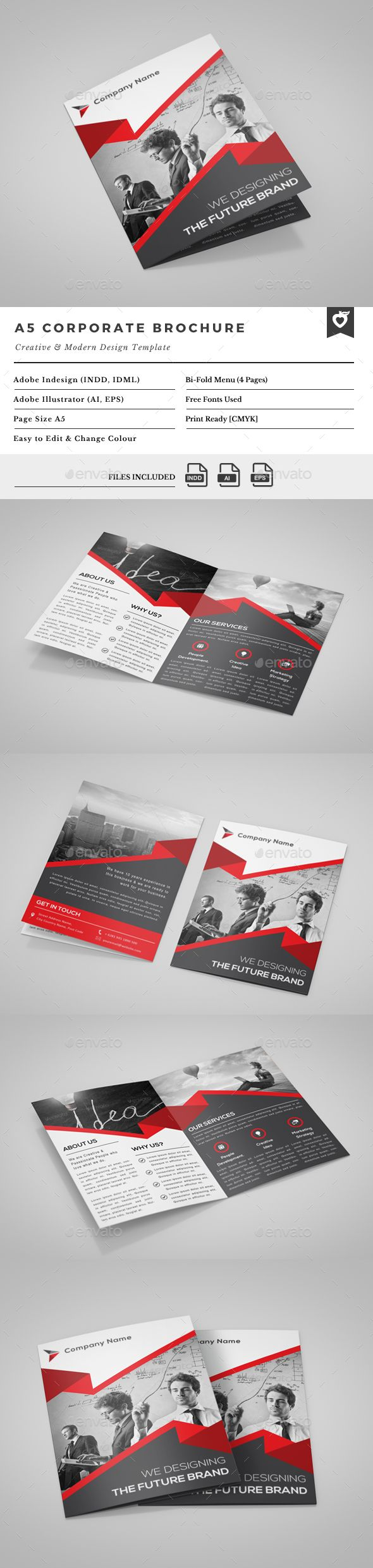 A5 Bi-Fold Brochure  —  EPS Template • Download ➝…