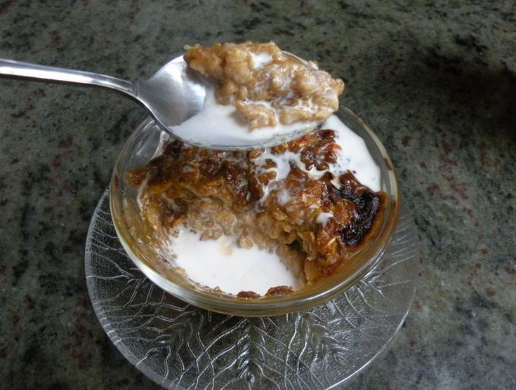 Baked Pumpkin Oatmeal with a Creme Brulee top and cream...go ahead ...
