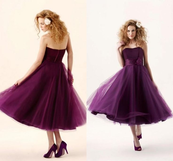 2016 New Grape Bridesmaid Dresses Sweetheart Backless Tea-Length Tulle Cheap Modest Beach Maid of Honor Party Prom Gowns Plus Size Custom Bridesmaid Dress Cheap Bridesmaid Dress Plus Size Bridesmaid Dress Online with $96.55/Piece on Modeldress's Store | DHgate.com