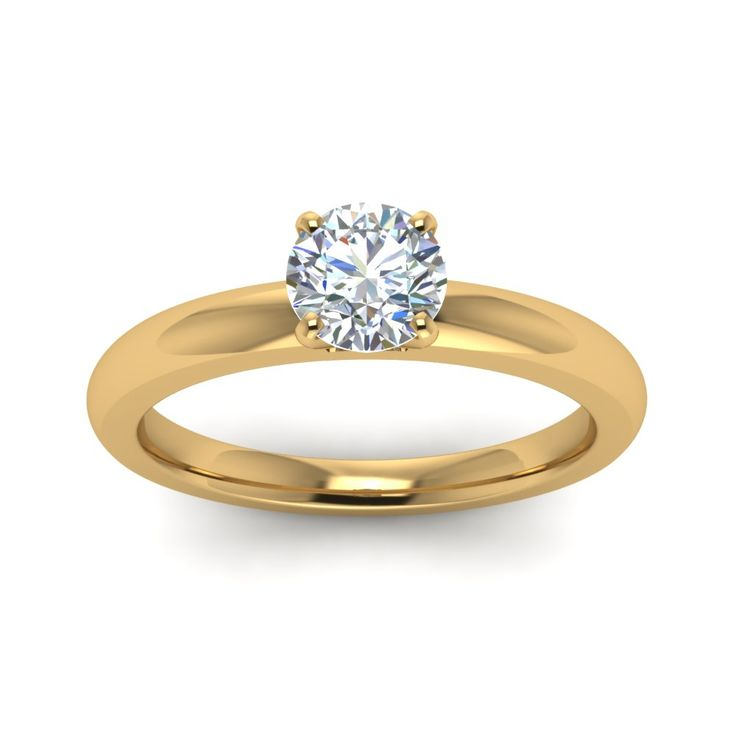Amazing Classic Round Cut diamond Solitaire Engagement Rings in K Yellow Gold exclusively styled by Fascinating Diamonds