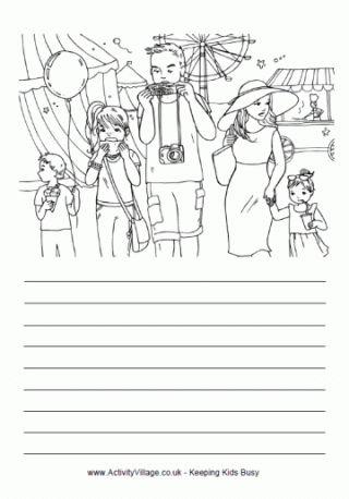 Amusement park coloring & story page.