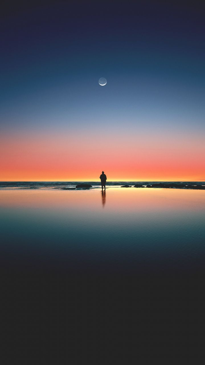 Download 720x1280 Wallpaper Sunset Beach Sea Horizon Silhouette Moon Samsung Galaxy Mini S3 S5 Neo Alpha S Nature Photography Beautiful Nature Nature