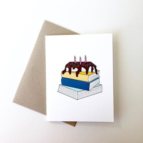 Book Lover Birthday Card Bookish Birthday Card Reading Etsy Birthday Card Book Creative Birthday Cards Happy Birthday Cards Diy