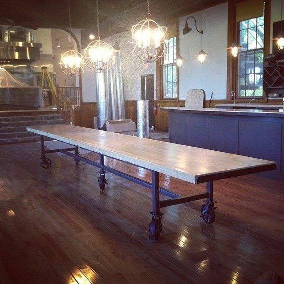 Need to fit a large number of family members around the table this holiday season? Check out this reclaimed bowling alley table made with a metal base and vintage casters. Then, customize one of your own!